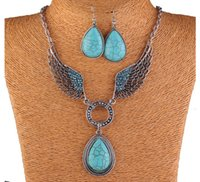 amber sets - New Women Jewellery Tibetan Silver CZ Crystal Chain Pendant Necklace Earrings Set Round Turquoise Jewelry sets
