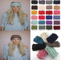 Spring / Autumn adult lace headbands - Women s Fashion Wool Crochet Headband Knit Hair band Flower Winter Ear Warmer headbands for women Mummy Mother Adults