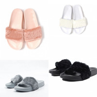 Wholesale 4 Colors Leadcat Fenty Rihanna Shoes Women Slippers Indoor Sandals Girls Fashion Scuffs Pink Black White Send With Original Boxes