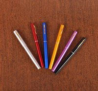 Wholesale Portable Pocket Telescopic Mini Fishing Pole Aluminum Alloy Pen Shape Fishing Rod With Reel Wheel mixed Colors JF