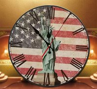 antique wood statue - the Statue of Liberty Wall Clock Vintage Wooden Large Shabby Kitchen Home Antique Home Decoration Style Wood Wall Clocks DIY bracket clock