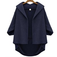 Wholesale Women Casual Autumn warm winter Cotton Women Coat designers short front long back Solid sweater cardigan poncho