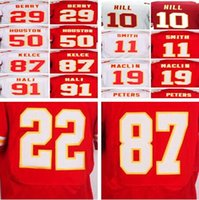 2017 Hombres cosieron los jerseys # 22 Marcus Peters # 87 Travis Kelce # 11 <b>Alex Smith</b> # 29 Eric Berry 10 Tyreek Hill # 50 Justin Houston fútbol