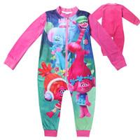 Wholesale Trolls Movie Onesie Girls Dreamworks PJ to Years Pink Kids Boy Girl Trolls Pyjamas Casual Cartoon Nightwear Soft Leisure XMAS GIFT