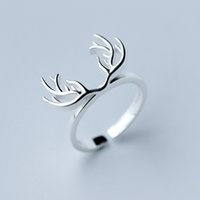antler design - 5pcs New Design Pure Sterling Silver Deer Antlers Rings for Women Lovely Girls Christmas Gift Statement Jewelry Anillo de plata