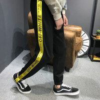 Wholesale Off white suit trousers yellow webbing couple pants men and women fast foot pants Fashion brand