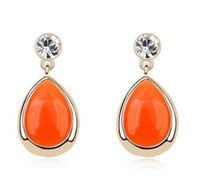 Wholesale National earings orange red silver drop shipping