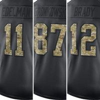 Wholesale 2017 Men Tom Brady Jersey Rob Gronkowski Julian Edelman Jersey embroidery Anthracite Salute to Service Jersey