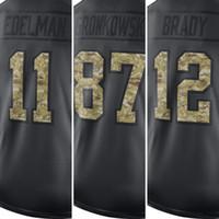 Wholesale Men s Brady Gronkowski Edelman embroidery logos Anthracite Salute to Service Jersey