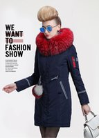 Cheap 2016 New European plus size Women long down coat winter warm overcoat parkas jacket with luxury fur collar slim fit royal blue