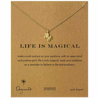 Wholesale Unicorn Pegasus Pendant Dogeared Necklace Short Women Clavicle chain jewelry