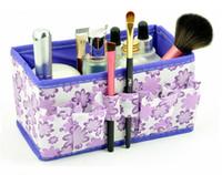 Wholesale Non woven Foldable Desktop Storage Box cm Multifunction Beauty Flower Cosmetic Makeup Sundries Dresser Desktop Organizer Fashion
