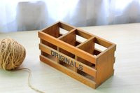 Wholesale Three Home Furnishing grocery wood lattice pen remote desktop cosmetic storage box