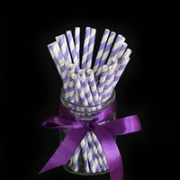 Wholesale Purple Striped paper drinking straws creative drinking straw Decorations For Wedding