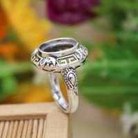 Wholesale Women Art Nouveau x12mm Oval Cabochon Semi Mount Sterling Silver Engagement Ring Fine Silver Ring Setting