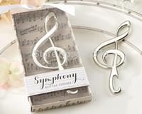 al por mayor abrebotellas música-La boda única de Freeshipping 100pcs de Wholesale-DHL favorece el regalo de boda del abrelatas de botella de la nota de la música del cromo de la