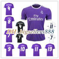 Wholesale 2017 Thailand Quality Real madrid soccer Jerseys New Font RONALDO home white away Purple JAMES BALE RAMOS ISCO MODRIC football shirt