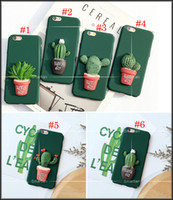 apple pot - Fashion D Cartoon Green Plant Cactus Potted Back Cover For IPhone5 s SE For iphone6 s plus iphone Plus Case Matte Hard Plastic Shell