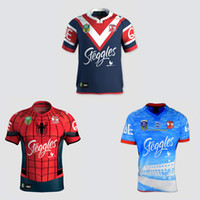 Wholesale 2017 Sydney Roosters rugby jerseys men S rugby shirts Spider Man jerseys home jerseys top quality Roosters shirts size S XL