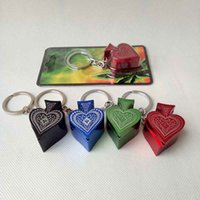 bending aluminum - New style metal Poker Peach heart pipe key chain portable smoking pipe aluminum alloy pipe VS Glass Water Silicone Bongs Pipes fashion
