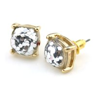 Wholesale Hot Sale Kate Style New York Opal Glitter Studs Gold Rainbow Square Glitter Stud Earrings Women Fashion Jewelry Opal Spade Earrings