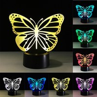 Wholesale 3D Butterfly LED Table Lamp Touch Colorful Color Change Acrylic Night Light Home Party Decorative Lamp Gifts