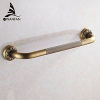 bathtub base - Bathtub Handrail Bathroom Tub Safety Grab Bar Black Antique Brass Carved Pattern Base Safety Handles Wall Mounted ST
