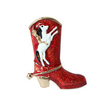 Wholesale Shoe Brooches Clips - Gold Plated Christmas Red Boots shoes and dog Christmas Brooch Rhinestone Christmas Brooches Lot Collar Clip For Scarf Buckle