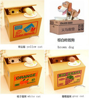 Wholesale 6styles Automatic Electric Piggy Bank Creative Convenient Moneybox Kids Gifts Cat dog Steal Coin Penny Bank Saving Money Box