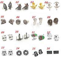 Wholesale 28 Style Star Wars Cufflinks for Men Fashion Cuff Links Cartoon Jedi Knight Darth Vader Novelty Cufflinks Men Jewelry Cuff Links Accessories