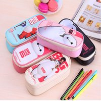 Cheap Wholesale-Fashion Baymax PU Pencils Bags Cute Plush Pencils Case 2016 New Large Capacity School Supplies Stationery Hot Pen Box 2.48