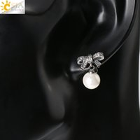 antique pearl jewellery - CSJA Natural Round Pearl Ear Stud Earring Antique Silver Plated Bow Bowknot Ball Pendant Earrings for Women Austrian Fashion Jewellery E376