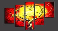 abstract tree - 5 panels Abstract Tree Painting Pure Hand Painted Modern Wall Decor Art Oil Painting On High Quality Canvas customized size al Daf