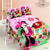 Wholesale lovely minnie girls twin single bedding set of duvet cover bed sheet pillow case kit
