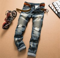 overalls for men - Balmain fashion brand for men ripped holes jeans frayed destroyed Slim Retro denim biker casual pants hip hop swag overalls