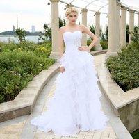 Wholesale 2016 Stock Corset Wedding Dresses Ivory White Robe de Mariee Organza Beaded Ruffled Plus Size Cheap Bridal Gown