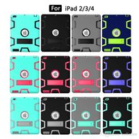 Wholesale Hit Color Hybrid Silica gel PC Shockproof Drop Resistance Protective Back Cover Stand Case for iPad