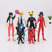 Wholesale 8cm cm Miraculous Ladybug Marinette Adrien Cat Noir PVC Action Figure Toys with LED light Christmas Gift