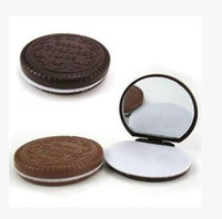 Wholesale DHL Free chocolate sandwich biscuit makeup mirror chocolate portable mirror Brown Plastic Chocolate Cookies Makeup Tools Compact Mirror