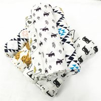Wholesale 120 cm Cotton Fox Bear Miracle Baby Muslin Swaddle Blanket Newborn Baby Bath Towel Ins Animal Baby Parisarc wrap blankets Robes