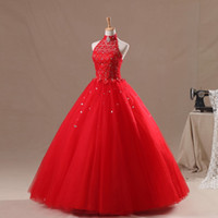 Wholesale Crystals High Neck Ball Gown Red Quinceanera Dresses Beaded Vestidos De Anos with Lace Up Back Prom Dresses