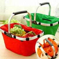 basket carts - Foldable Shopping Luggage Cart Oxford Shopping Basket Oxford Market Shopping Bag Outdoors Picnic Basket Large Alloy Handle Handbag