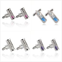 Wholesale Hot Sale Violet Hourglass Cufflinks Gifts Men s Cuff Links Pink Purple Blue White Hourglass Alloy Cufflinks Chic Mens Jewelry Accessories
