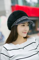 Wholesale 2016 Elegant Women Beanies Knitted Caps Rabbit Fur Flower Hat Winter and Fall Ladies Knit caps Female Fashion Floral Skullies Warm Hat
