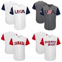 Wholesale USA Baseball Majestic World Cup Baseball Classic Team Jersey Men Baseball Jersey Puerto Rico Mexico Italy All Teams