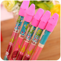 Wholesale Pen with rubber cute barrels of primary school students write HB lead free non toxic