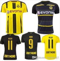 Wholesale Top Thai quality Dortmund home yellow soccer jersey AUBAMEYANG GOTZE MOR KAGAWA REUS SAHIN away black football shirt