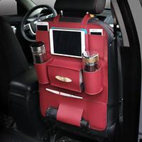 Wholesale Back Seat Organizer PU Car Seat multi purpose Protect Headrest Storage Bag Cup Ipad Holder For Phone iPad