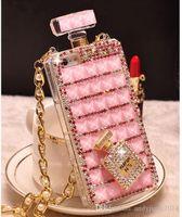 Precio de Iphone bling la rosa-085 Rhinestone de Bling hecho a mano 3D cadena larga de botella de perfume de color rosa teléfono proteger la contraportada caso del teléfono móvil para el iPhone 5 / 5s 6/6 más 7/7 Plus