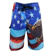 american flag boardshorts - New arrival High quality Elastic fabric American flag shorts bermuda men boardshorts Brand beach board shorts